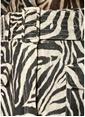 Zimmermann Safari Zebra Desen Kemerli Mini Keten Etek Zebra